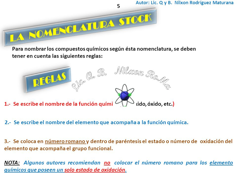 Lic. Q. B. Nilxon RoMa LA NOMENCLATURA STOCK REGLAS 5