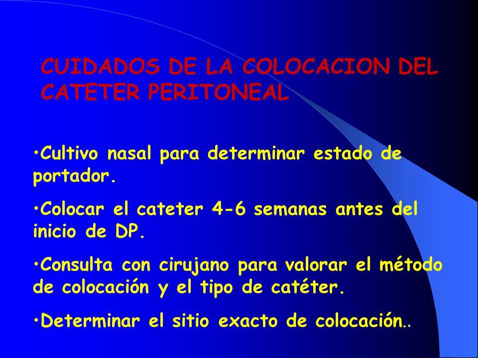 CUIDADOS DE LA COLOCACION DEL CATETER PERITONEAL