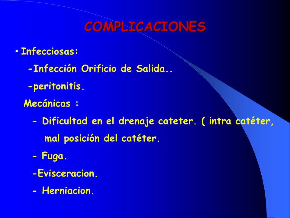 COMPLICACIONES Infecciosas: -Infección Orificio de Salida..