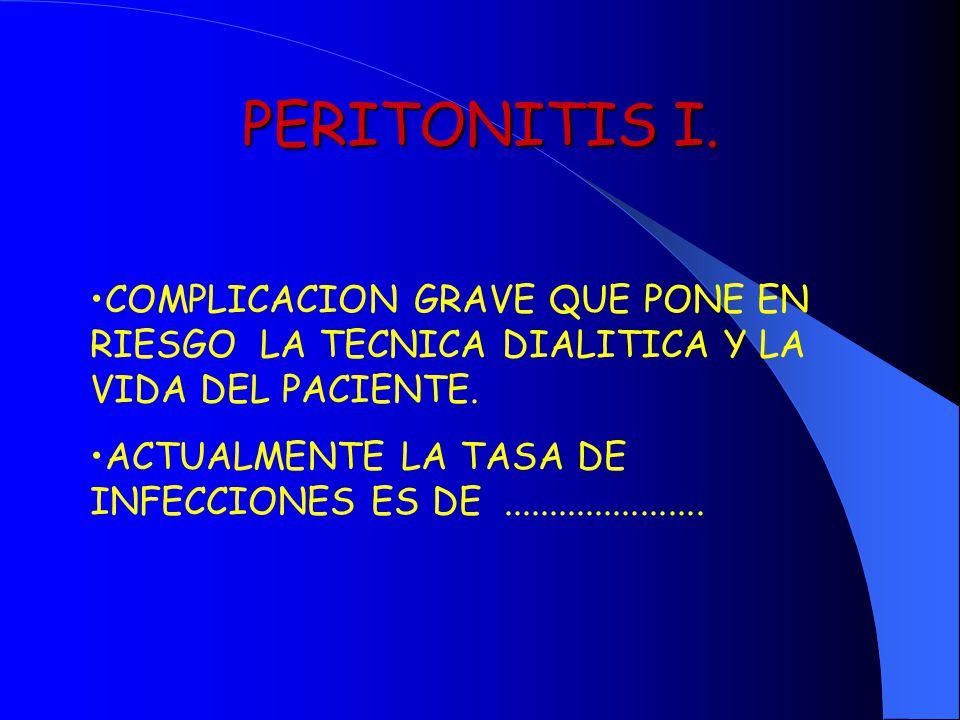 PERITONITIS I. COMPLICACION GRAVE QUE PONE EN RIESGO LA TECNICA DIALITICA Y LA VIDA DEL PACIENTE.