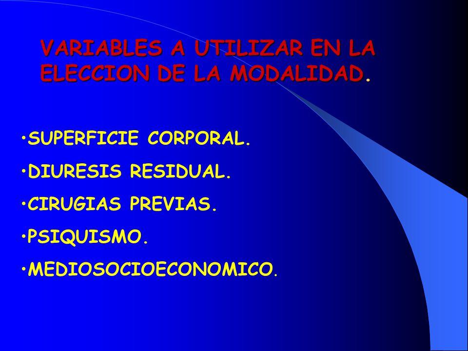 VARIABLES A UTILIZAR EN LA ELECCION DE LA MODALIDAD.