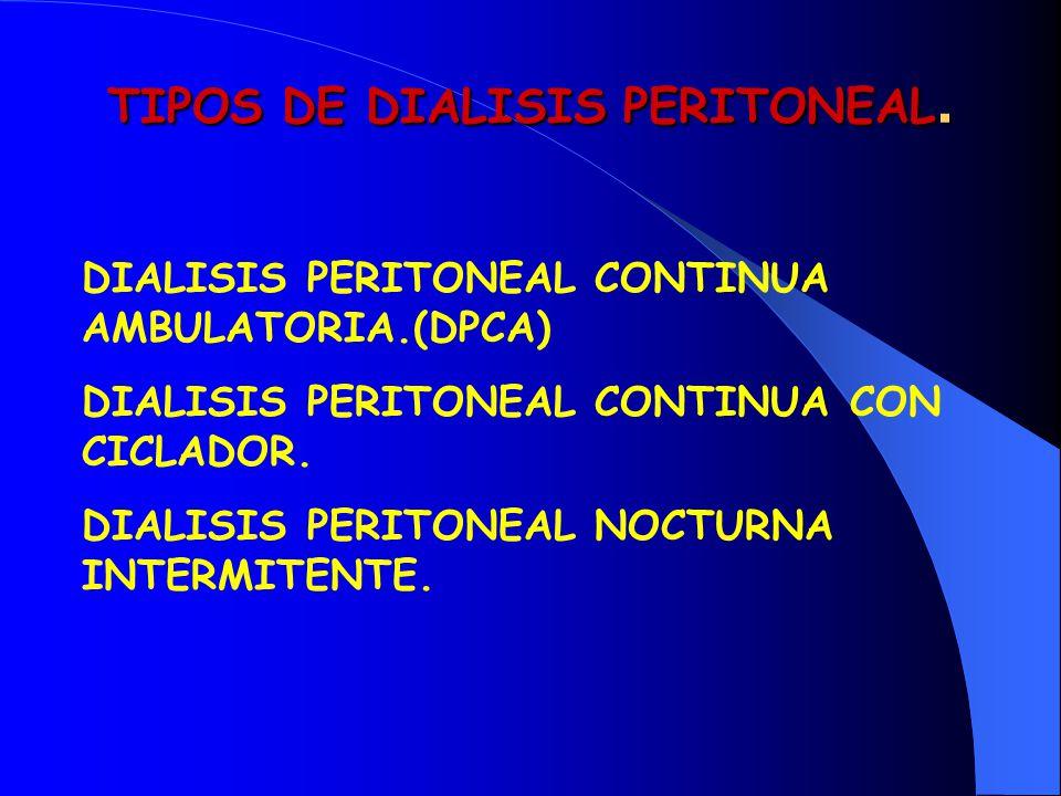 TIPOS DE DIALISIS PERITONEAL.
