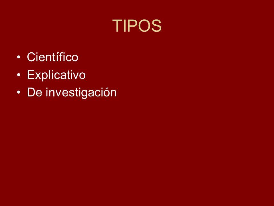 TIPOS Científico Explicativo De investigación