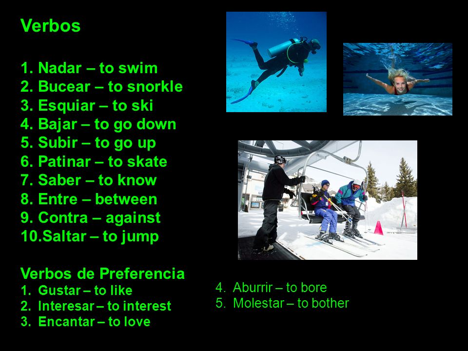 Verbos Nadar – to swim Bucear – to snorkle Esquiar – to ski