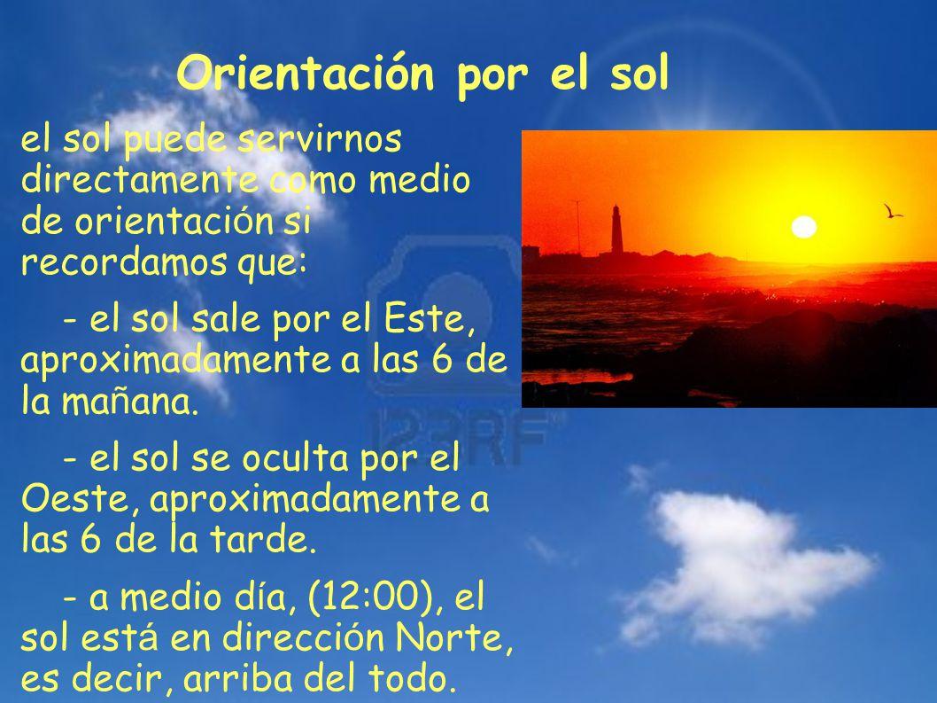 Orientación por el sol el sol puede servirnos directamente como medio de orientación si recordamos que: