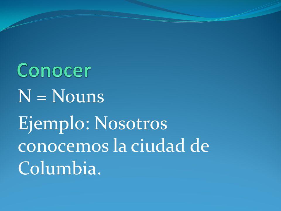 Conocer N = Nouns Ejemplo: Nosotros conocemos la ciudad de Columbia.