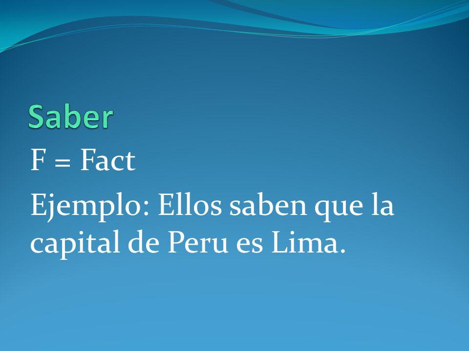 Saber F = Fact Ejemplo: Ellos saben que la capital de Peru es Lima.