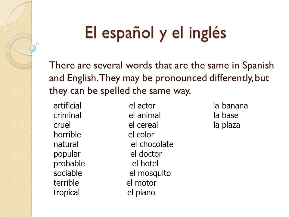 El español y el inglés