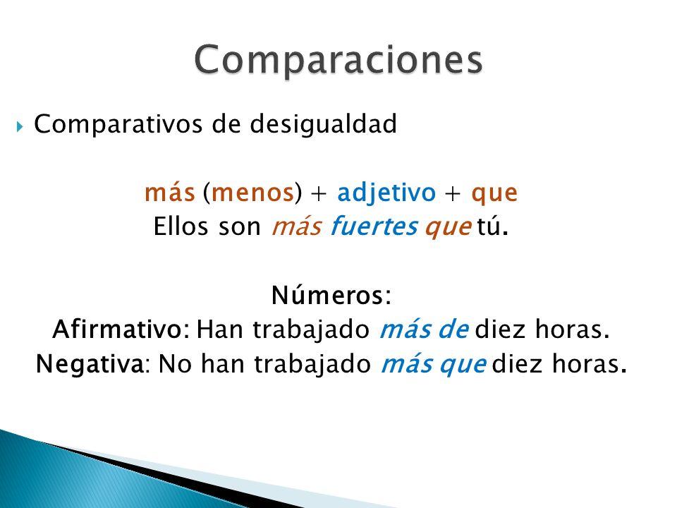 Comparaciones Comparativos de desigualdad más (menos) + adjetivo + que