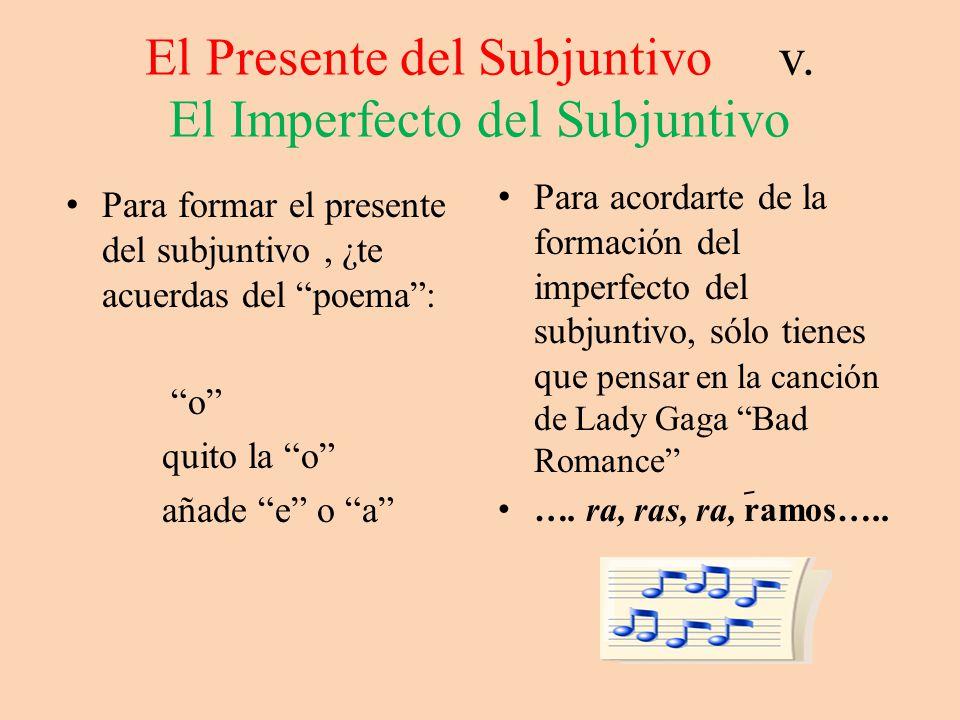El Presente del Subjuntivo v. El Imperfecto del Subjuntivo