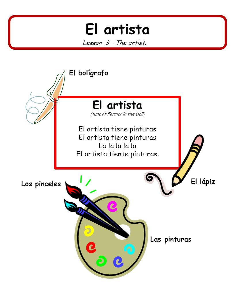 El artista El artista El bolígrafo El artista tiene pinturas