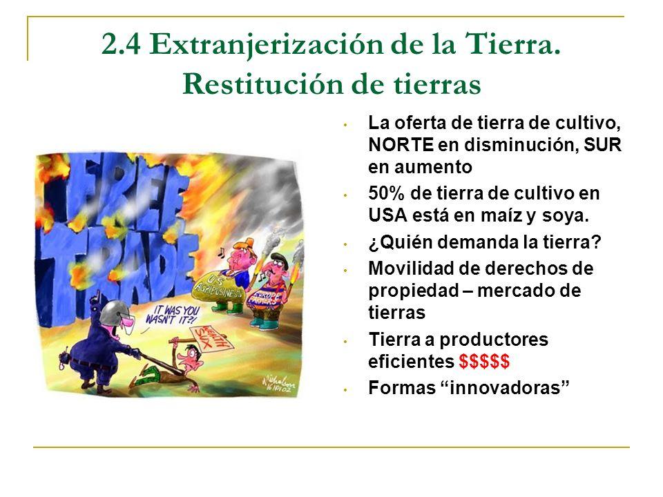 2.4 Extranjerización de la Tierra. Restitución de tierras