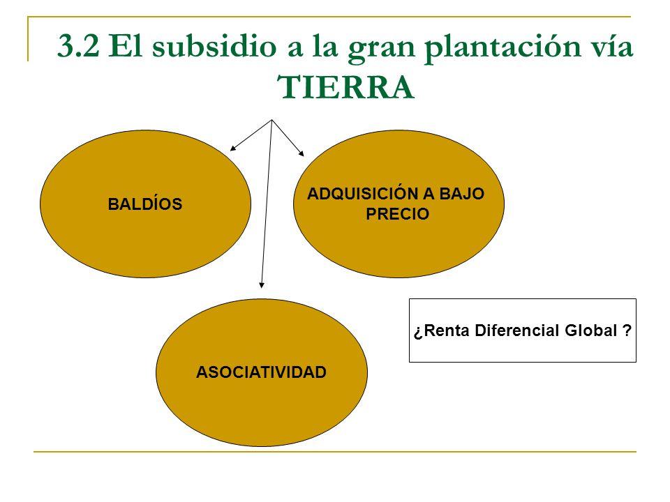 3.2 El subsidio a la gran plantación vía TIERRA