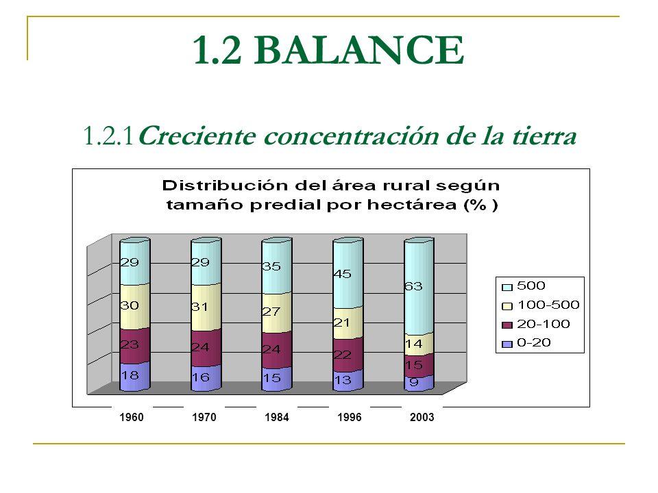 1.2 BALANCE 1.2.1Creciente concentración de la tierra