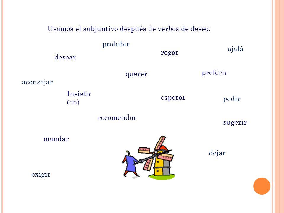 Usamos el subjuntivo después de verbos de deseo:
