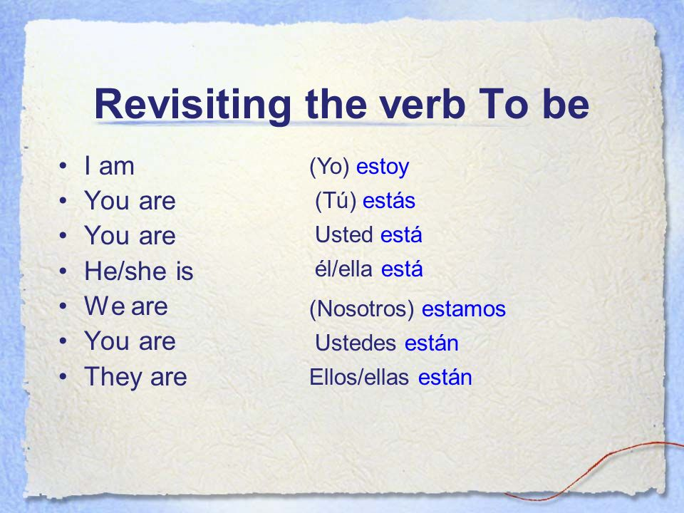 Revisiting the verb To be