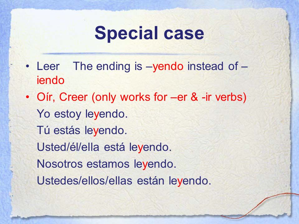 Special case Leer The ending is –yendo instead of –iendo