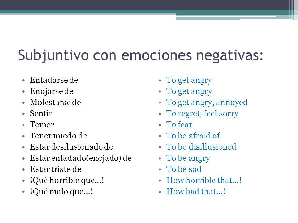 Subjuntivo con emociones negativas: