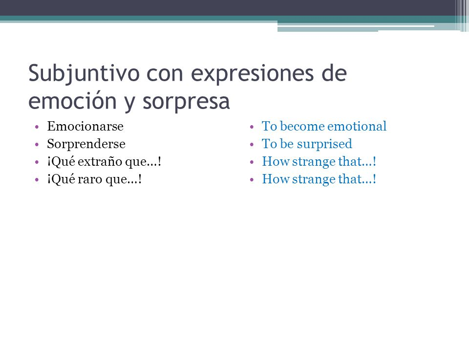 Subjuntivo con expresiones de emoción y sorpresa