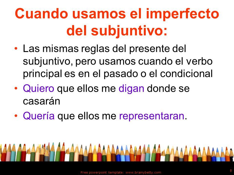 Cuando usamos el imperfecto del subjuntivo: