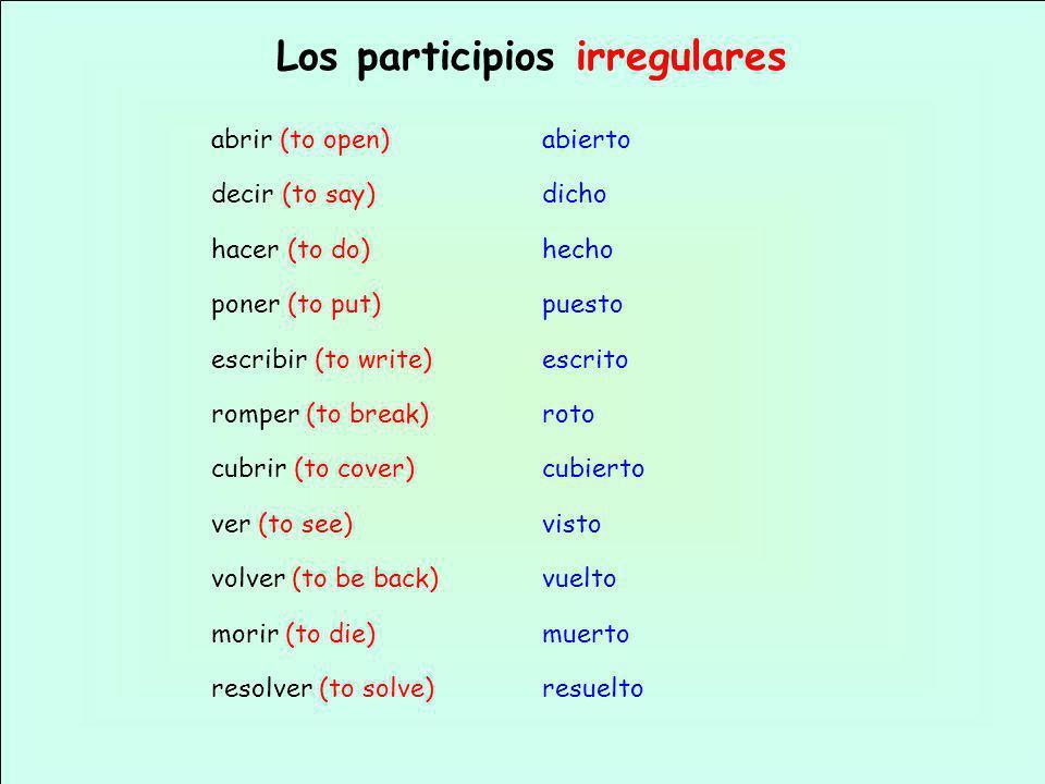 Los participios irregulares