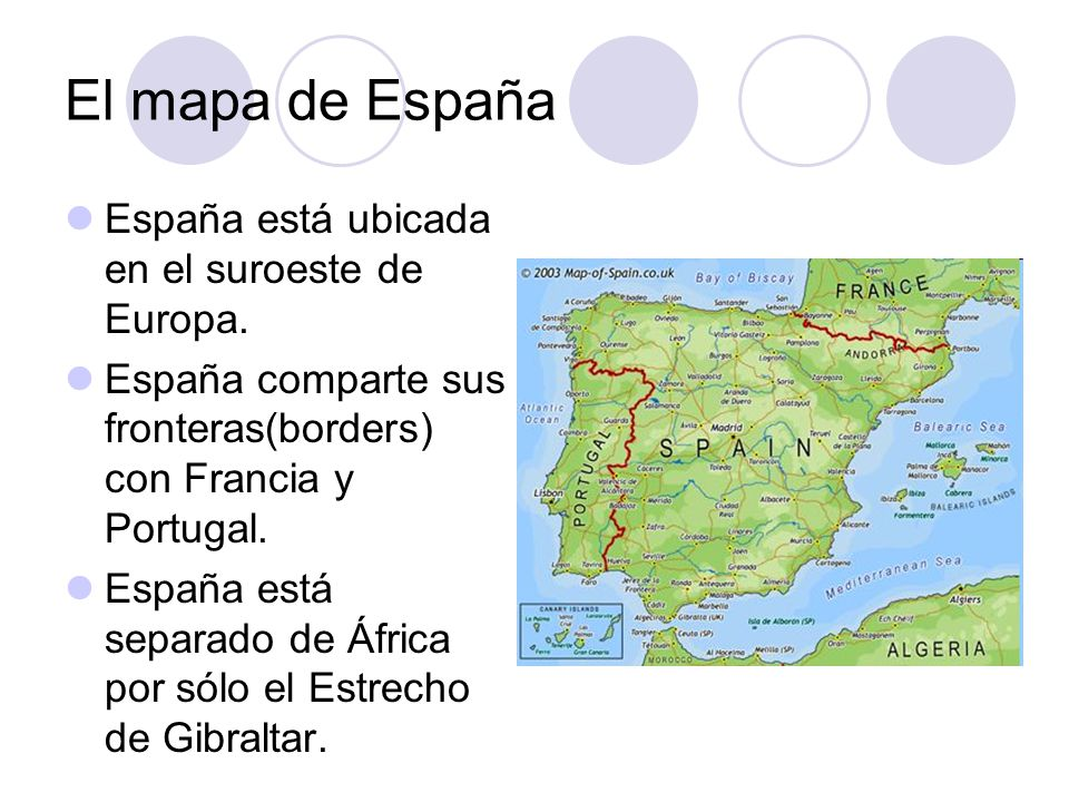 El mapa de España España está ubicada en el suroeste de Europa.