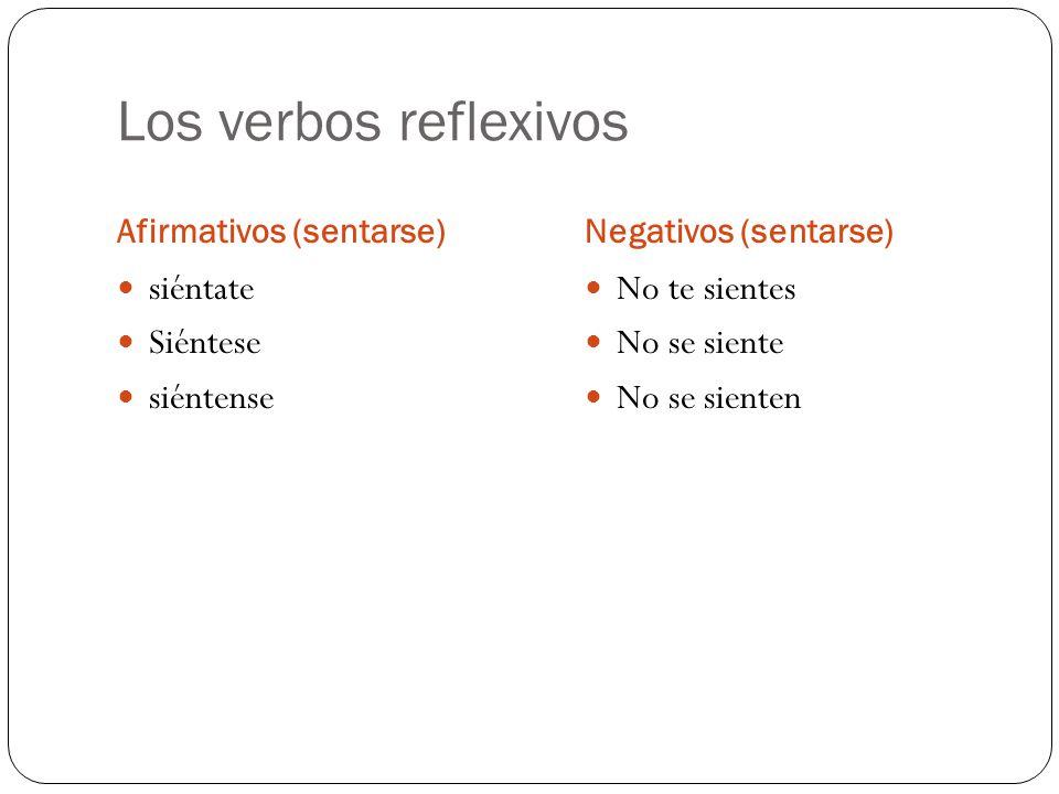 Los verbos reflexivos siéntate Siéntese siéntense No te sientes