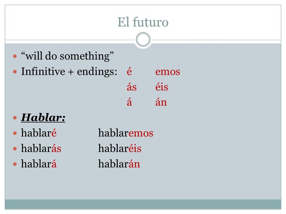 El futuro will do something Infinitive + endings: é emos ás éis á án