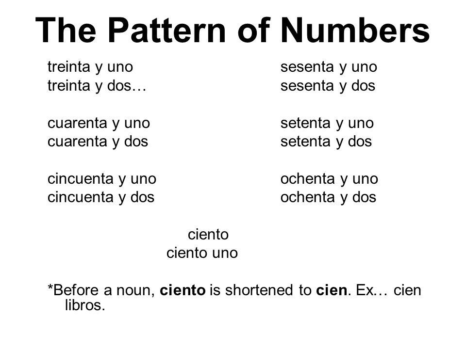 The Pattern of Numbers treinta y uno sesenta y uno
