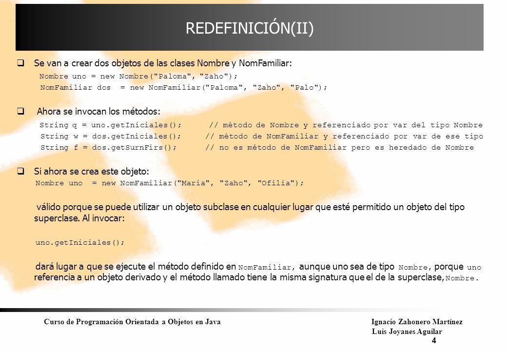 REDEFINICIÓN(II) Se van a crear dos objetos de las clases Nombre y NomFamiliar: Nombre uno = new Nombre( Paloma , Zaho );