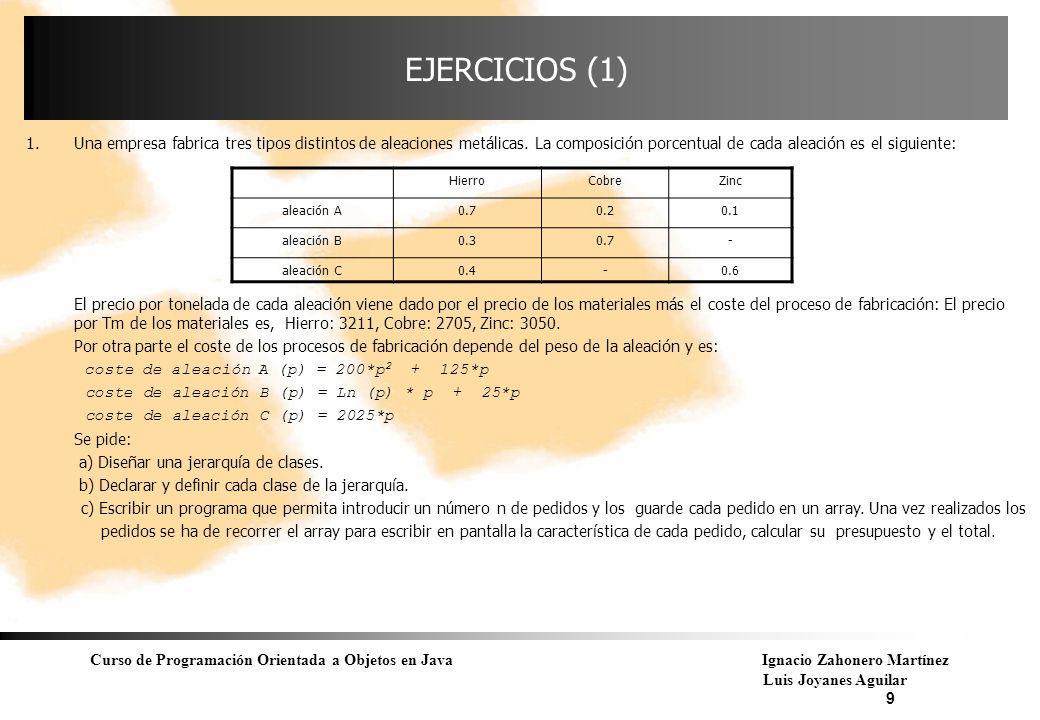 EJERCICIOS (1) Una empresa fabrica tres tipos distintos de aleaciones metálicas. La composición porcentual de cada aleación es el siguiente: