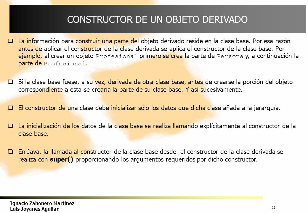 CONSTRUCTOR DE UN OBJETO DERIVADO