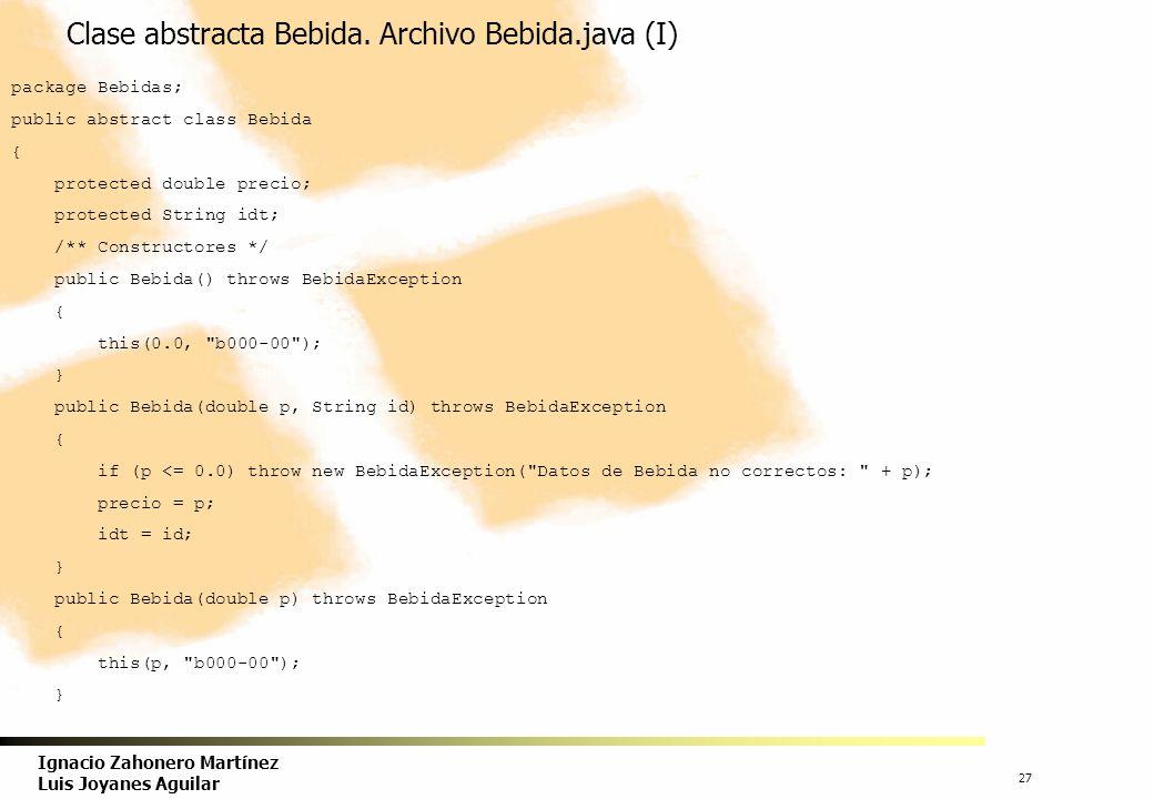 Clase abstracta Bebida. Archivo Bebida.java (I)