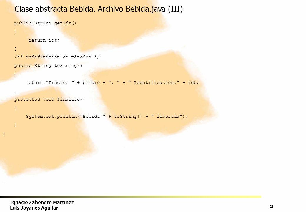 Clase abstracta Bebida. Archivo Bebida.java (III)