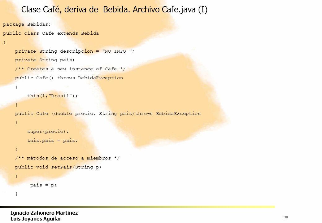 Clase Café, deriva de Bebida. Archivo Cafe.java (I)