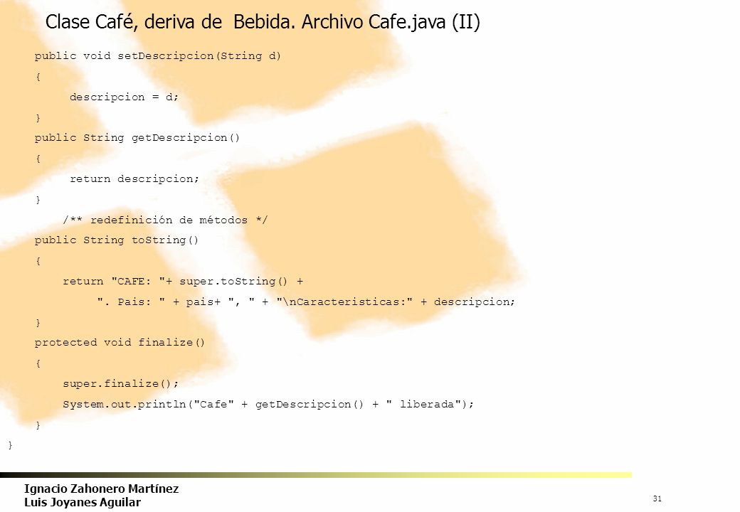 Clase Café, deriva de Bebida. Archivo Cafe.java (II)