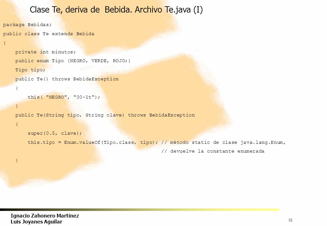 Clase Te, deriva de Bebida. Archivo Te.java (I)