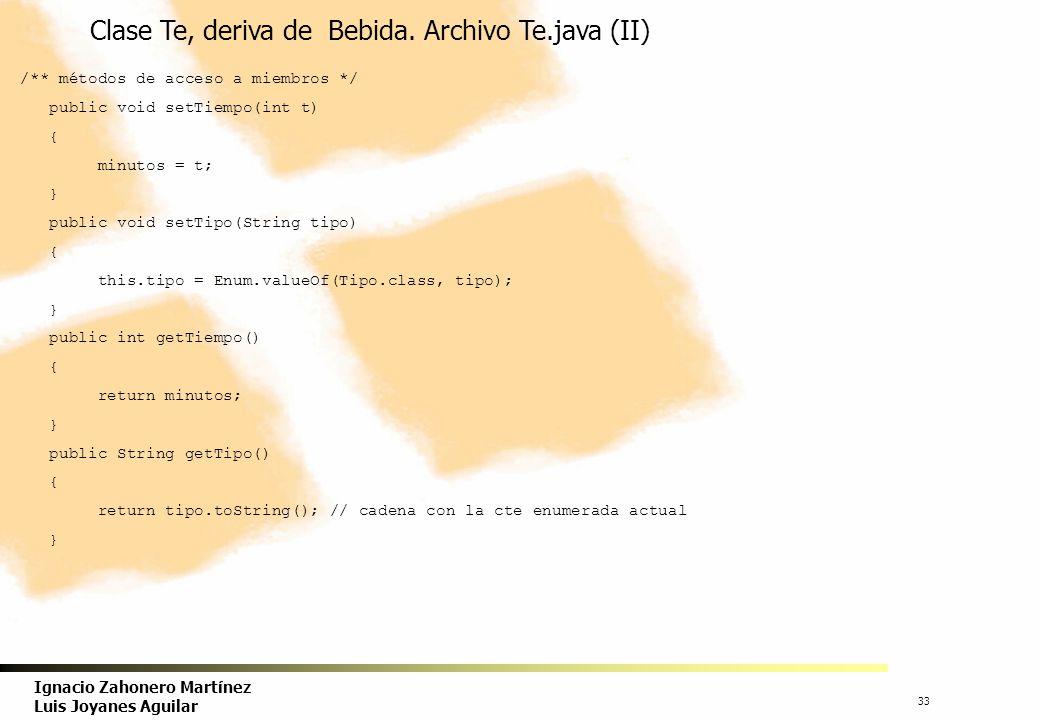 Clase Te, deriva de Bebida. Archivo Te.java (II)