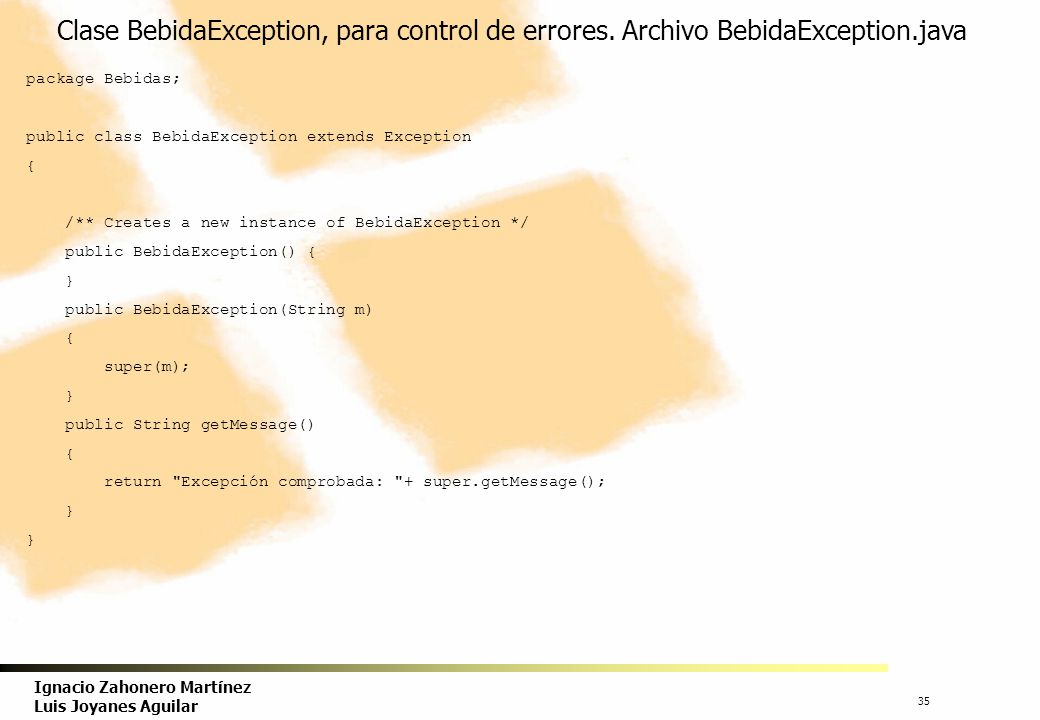 Clase BebidaException, para control de errores. Archivo BebidaException.java