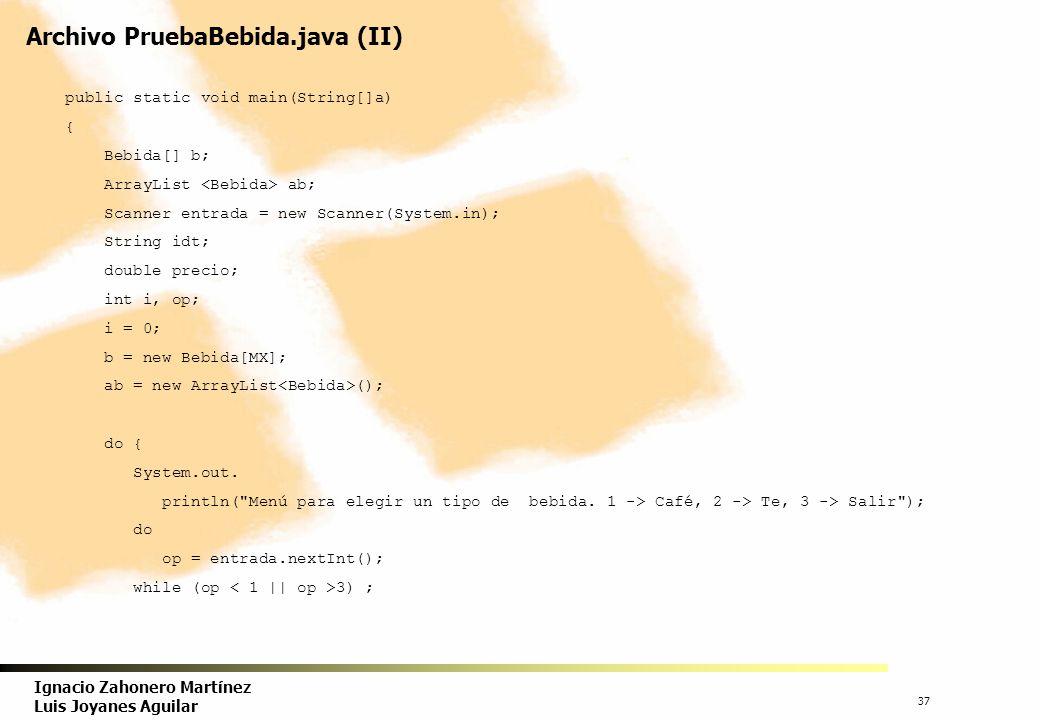 Archivo PruebaBebida.java (II)
