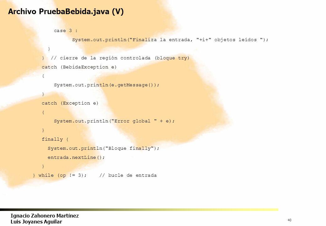 Archivo PruebaBebida.java (V)