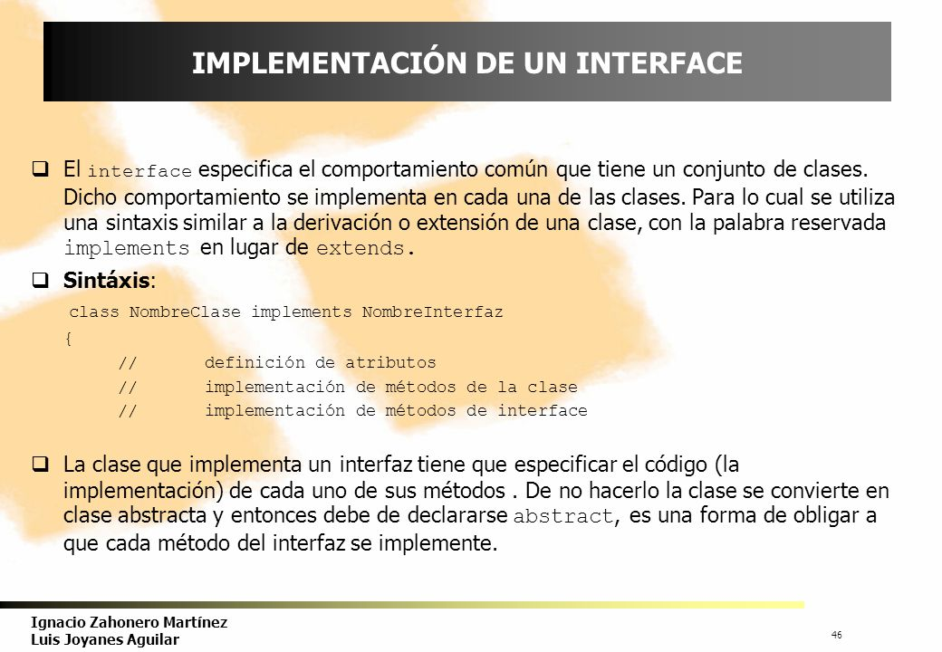 IMPLEMENTACIÓN DE UN INTERFACE