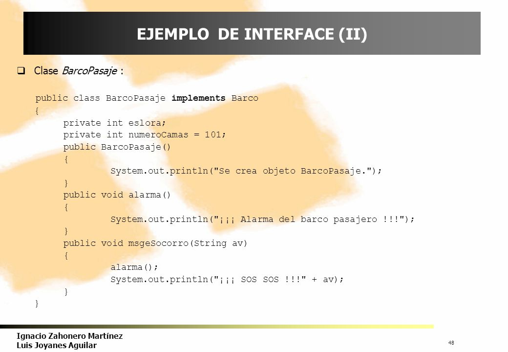 EJEMPLO DE INTERFACE (II)