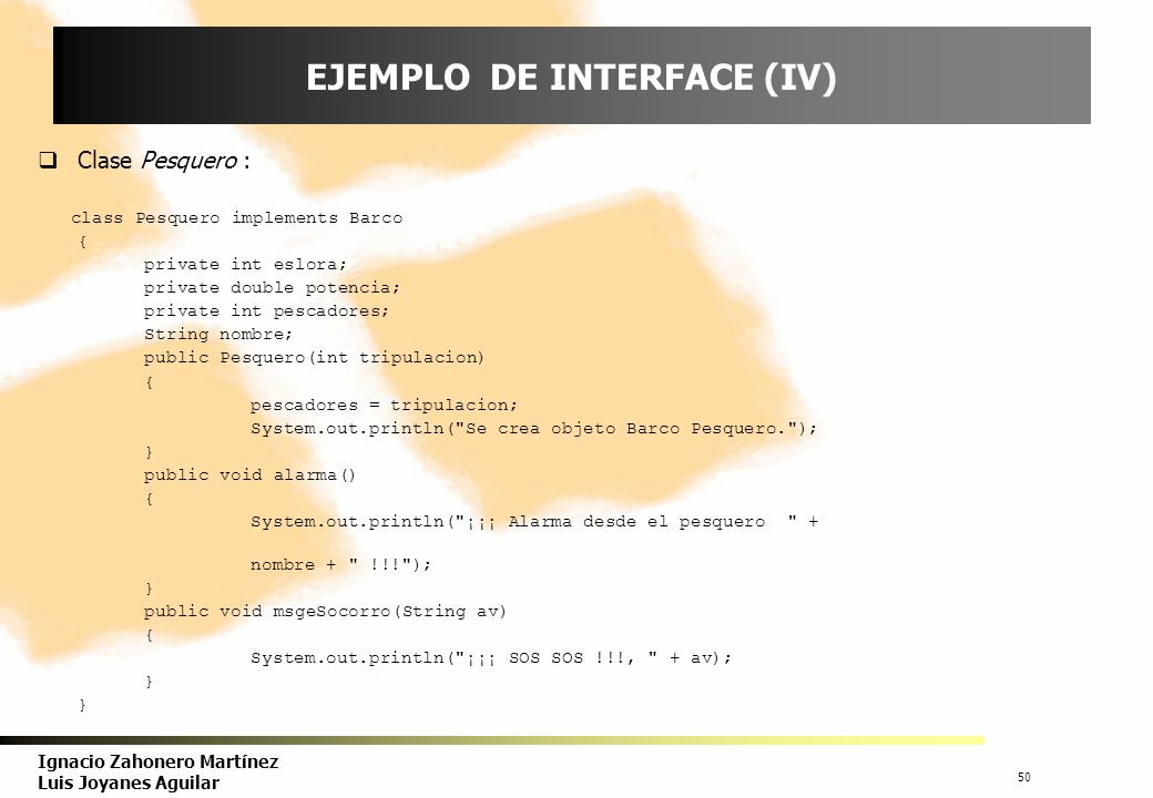 EJEMPLO DE INTERFACE (IV)
