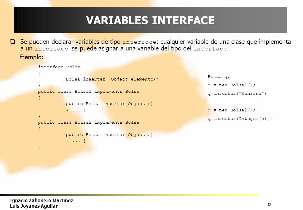 VARIABLES INTERFACE