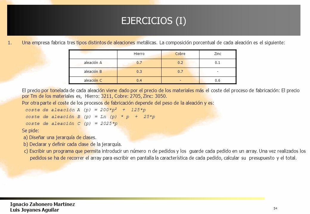 EJERCICIOS (I) Una empresa fabrica tres tipos distintos de aleaciones metálicas. La composición porcentual de cada aleación es el siguiente: