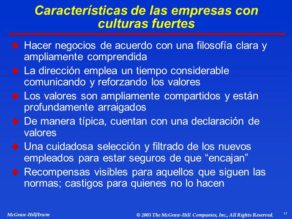 Características de las empresas con culturas fuertes