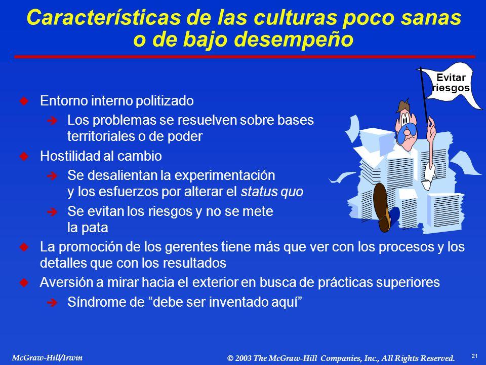 Características de las culturas poco sanas o de bajo desempeño