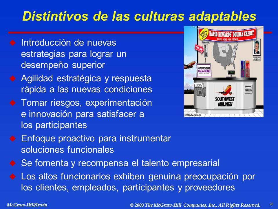 Distintivos de las culturas adaptables