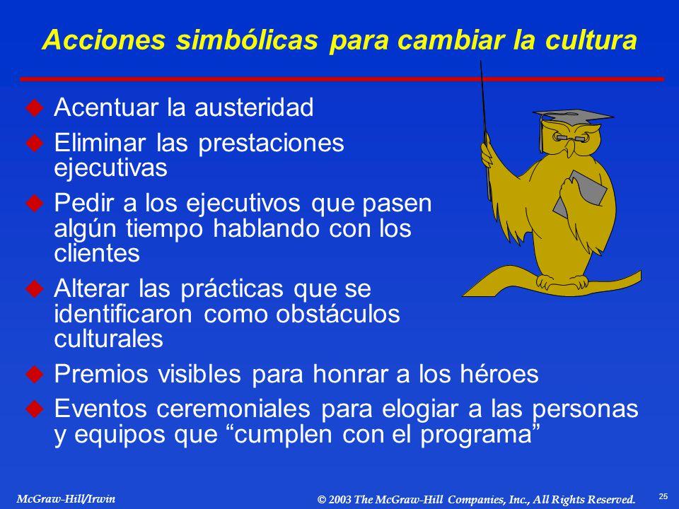 Acciones simbólicas para cambiar la cultura